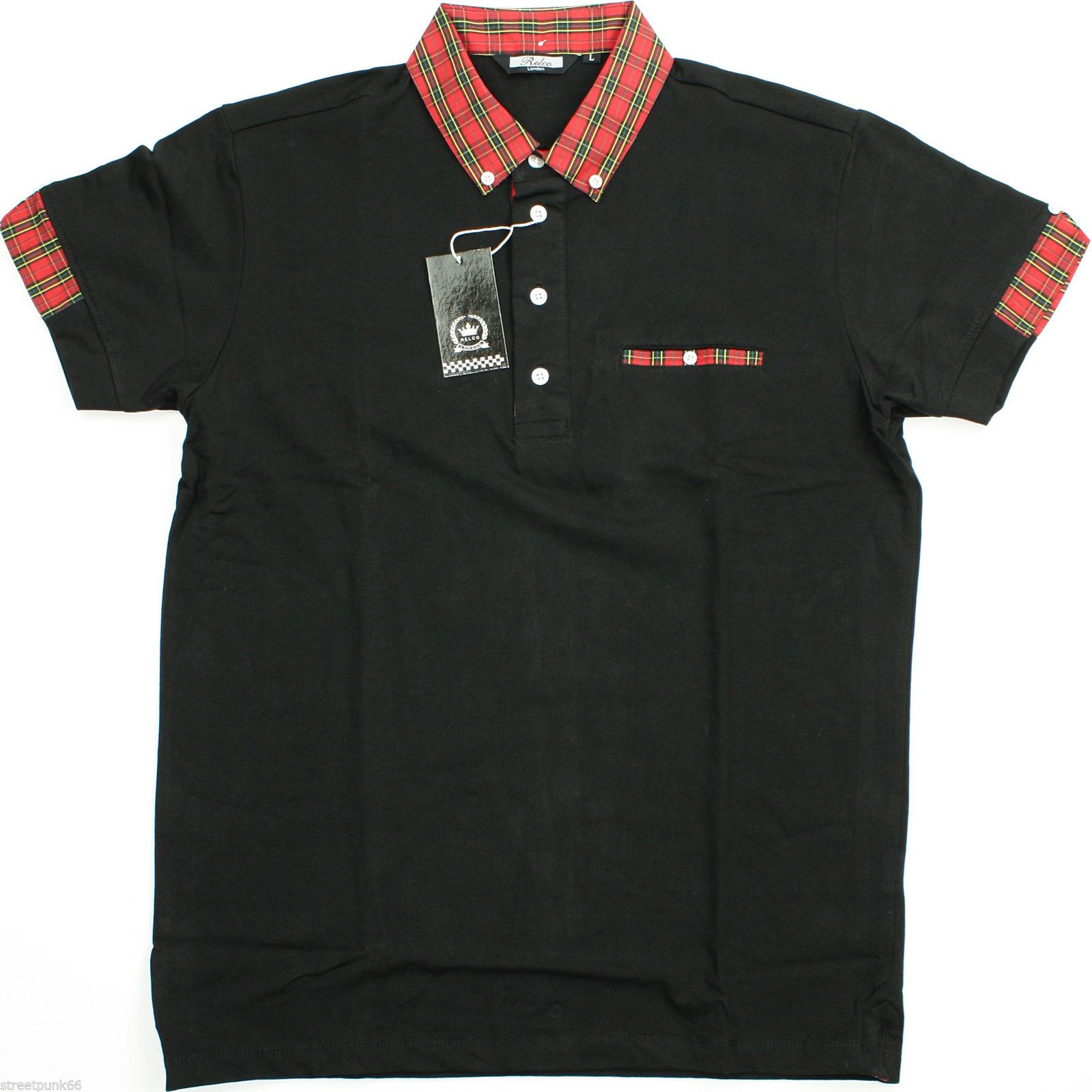 Black t shirt red collar - Relco Mens Black Polo Shirt Button Down Red Tartan Collar Mod Ska Skin Casual